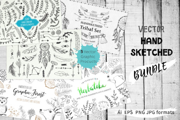 Vector Hand Sketched BUNDLE Graphic Illustrations By Larysa Zabrotskaya