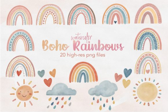 Watercolor Boho Rainbow Clipart Png Graphic Illustrations By peachycottoncandy
