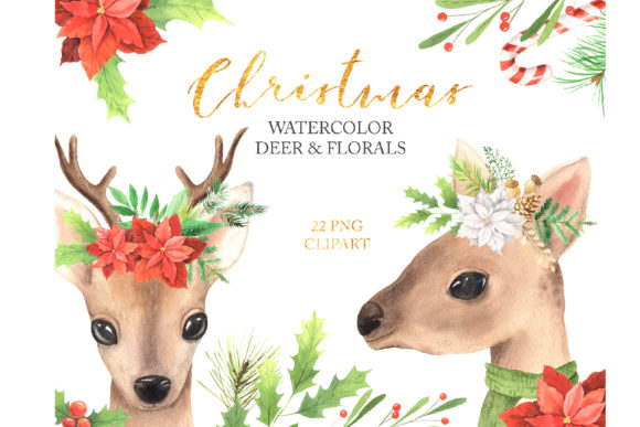 Watercolor Christmas Deer & Florals Set Graphic Illustrations By Larysa Zabrotskaya