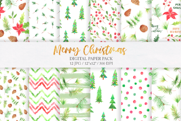 Watercolor Christmas Digital Papers Pack Graphic Patterns By Larysa Zabrotskaya