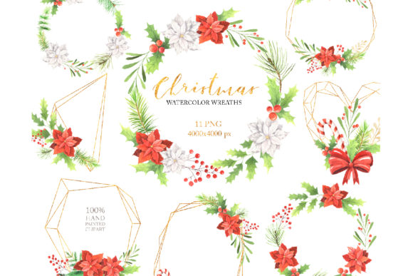 Watercolor Christmas Floral Wreaths Set Graphic Illustrations By Larysa Zabrotskaya