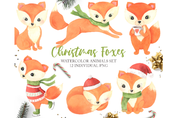Watercolor Christmas Foxes Clipart Graphic Illustrations By Larysa Zabrotskaya