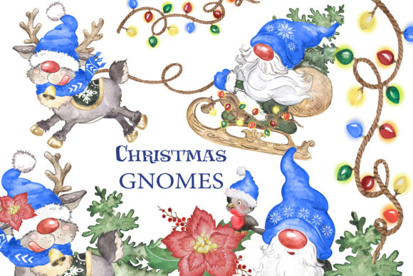 Watercolor Christmas Gnomes Clipart Png Gráfico Add-ons Por EvArtPrint