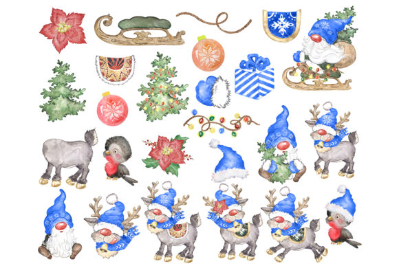 Watercolor Christmas Gnomes Clipart Png Graphic Download