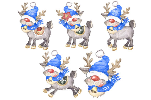 Watercolor Christmas Gnomes Clipart Png Graphic Item