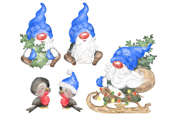 Watercolor Christmas Gnomes Clipart Png Graphic Design