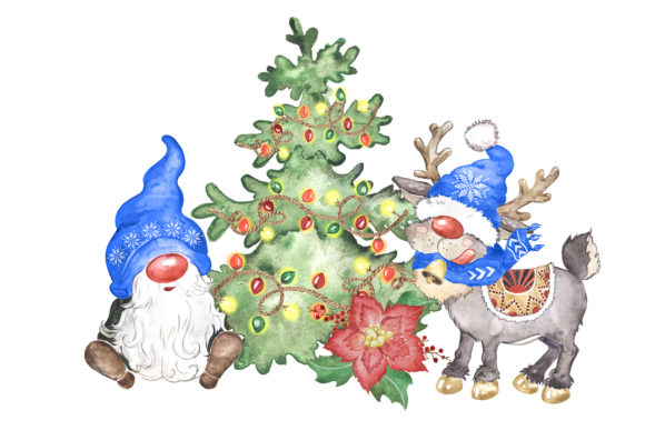 Watercolor Christmas Gnomes Clipart Png Graphic Preview