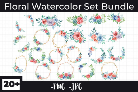 Print on Demand: Watercolor Floral Bundle Graphic Illustrations By AzrielMch