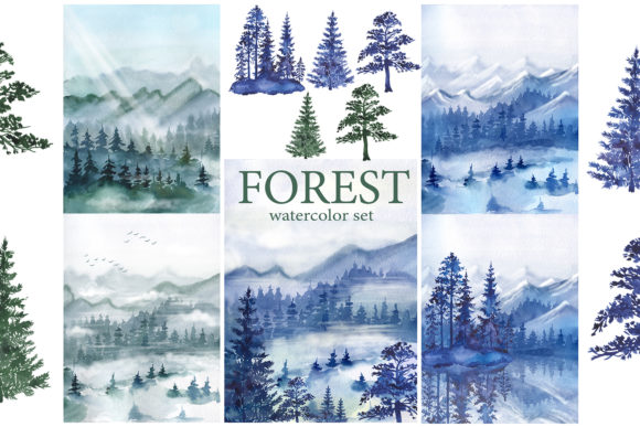 Watercolor Forest Pine Trees Clipart Graphic