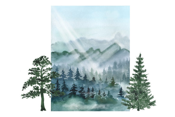 Watercolor Forest Pine Trees Clipart Graphic Download