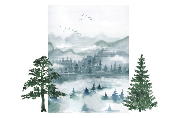 Watercolor Forest Pine Trees Clipart Graphic Item