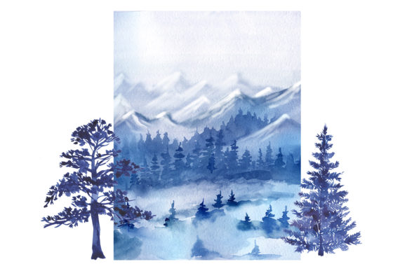 Watercolor Forest Pine Trees Clipart Graphic Design