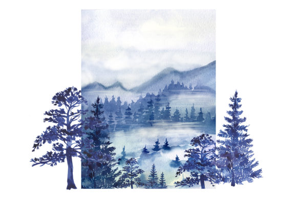 Watercolor Forest Pine Trees Clipart Graphic Preview