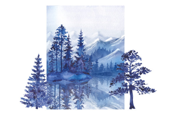 Watercolor Forest Pine Trees Clipart Graphic Image