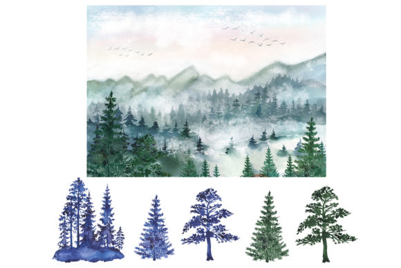 Watercolor Forest Pine Trees Clipart Graphic Design Item