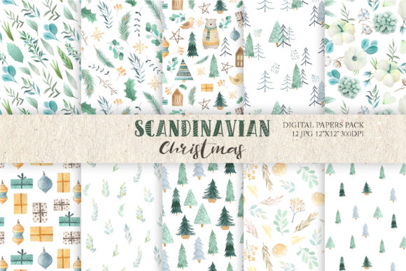 Watercolor Scandinavian Paper Pack Graphic Patterns By Larysa Zabrotskaya