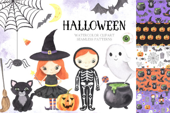 Watercolor Spooky Halloween Clipart Graphic