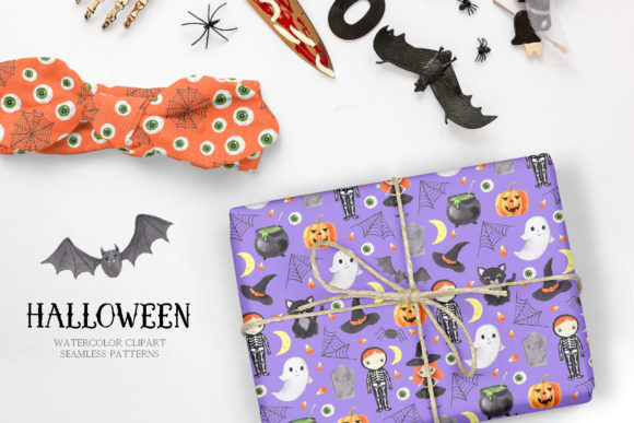 Watercolor Spooky Halloween Clipart Graphic Graphic
