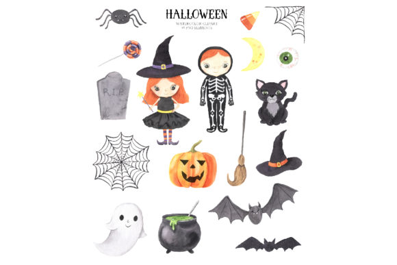 Watercolor Spooky Halloween Clipart Graphic Download