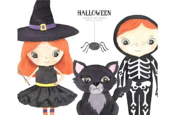 Watercolor Spooky Halloween Clipart Graphic Item