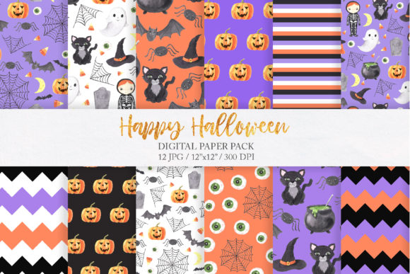 Watercolor Spooky Halloween Clipart Graphic Design