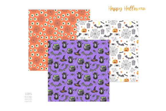 Watercolor Spooky Halloween Clipart Graphic Preview