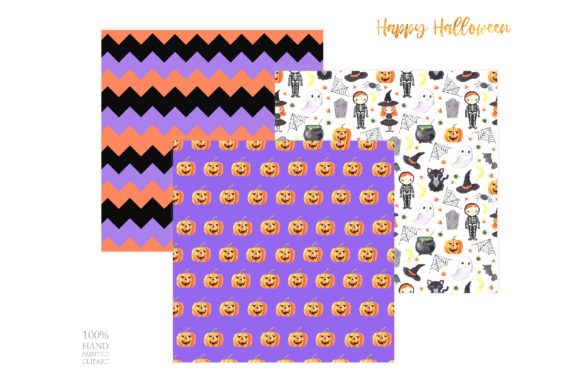 Watercolor Spooky Halloween Clipart Graphic Image