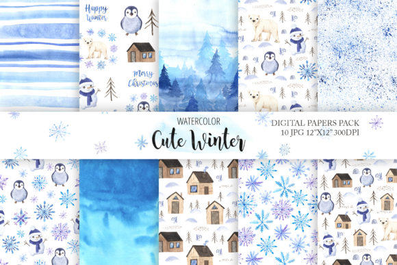 Watercolor Winter Digital Papers Pack Graphic