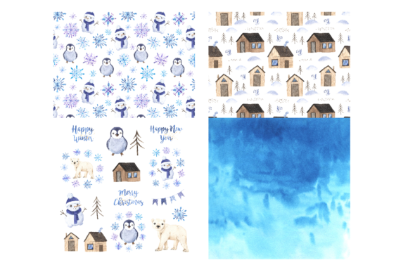 Watercolor Winter Digital Papers Pack Graphic Design