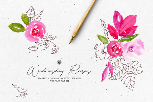 Print on Demand: Watercolor Floral Set - Wednesday Roses Graphic Illustrations By webvilla