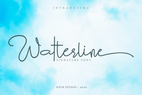 Print on Demand: Watterline Script & Handwritten Font By Din Studio