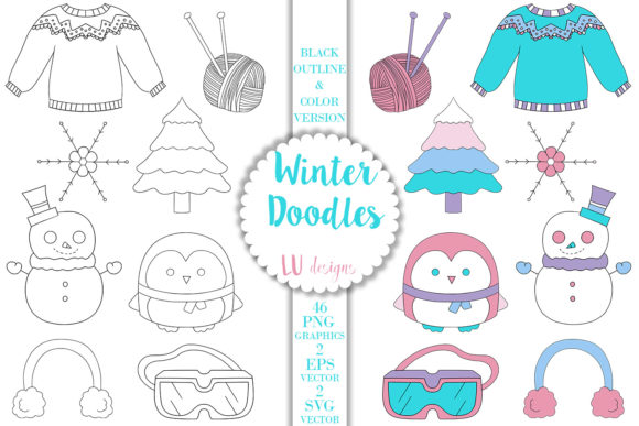 Winter Doodles Clipart, Snow Graphics Graphic Illustrations By Lu Designs