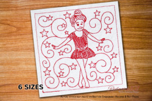 Young Ballet Dancer with Starry Pattern Dance & Drama Embroidery Design By Redwork101
