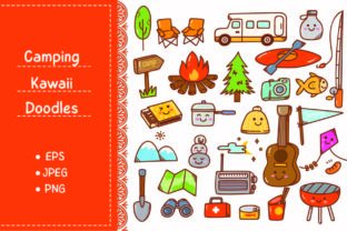 Camping Kawaii Doodle Set Graphic Illustrations By Big Barn Doodles
