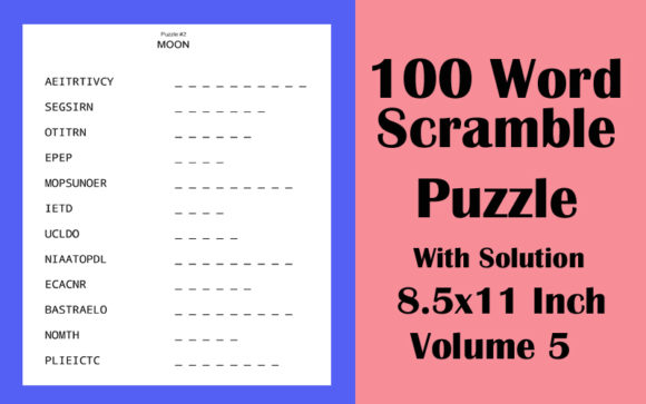 100 Word Scramble Puzzle 8.5x11 Volume 5 Graphic KDP Interiors By Seven Elephant