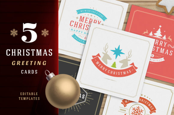 5 Christmas Greeting Cards Graphic Print Templates By vasyako1984