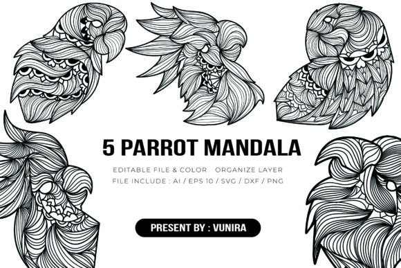 Print on Demand: 5 Parrot Bundle | Mandala Graphic Crafts By Vunira