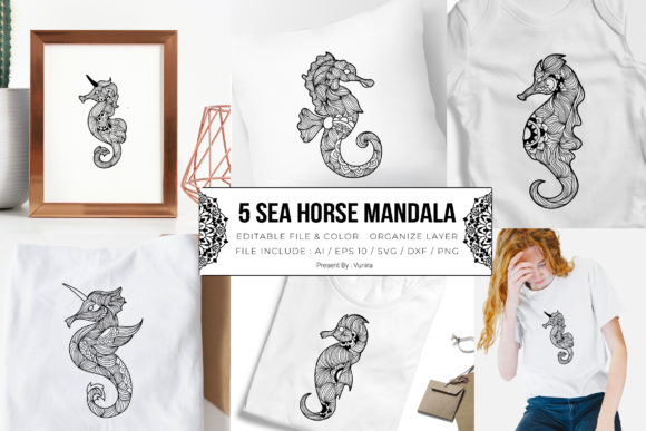 Print on Demand: 5 Sea Horse Bundle | Mandala Graphic Crafts By Vunira