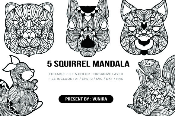 Print on Demand: 5 Squirrel Bundle | Mandala Graphic Crafts By Vunira