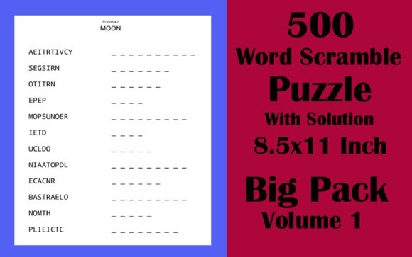 500 Word Scramble Puzzle 8.5x11 Volume 1 Graphic KDP Interiors By Seven Elephant