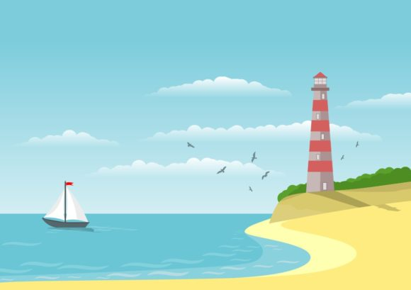 Backgrounds Illustration - Seascape Graphic Backgrounds By americodealmeida