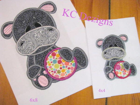 Beach Hippo with Beach Ball Applique Boys & Girls Embroidery Design By karen50