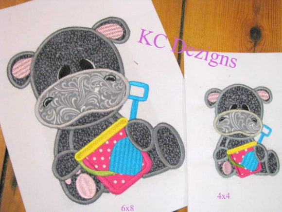 Beach Hippo with Bucket & Spade Applique Boys & Girls Embroidery Design By karen50