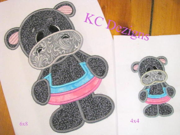 Beach Hippo with Pool Ring Applique Embroidery