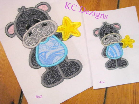 Beach Hippo with Star Fish Applique Boys & Girls Embroidery Design By karen50
