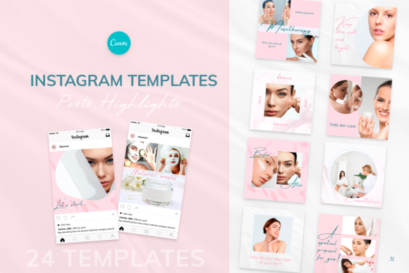 Beauty Pink Instagram Canva Tempates Graphic Instapage By milagro.mst