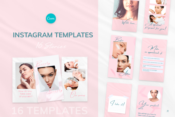 Beauty Pink Instagram Stories Templates Graphic Instapage By milagro.mst