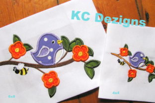 Bird on Branch with Flowers Summer Embroidery Design By karen50