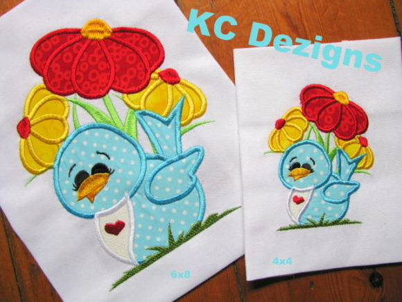 Bird with Summer Flowers Birds Embroidery Design By karen50