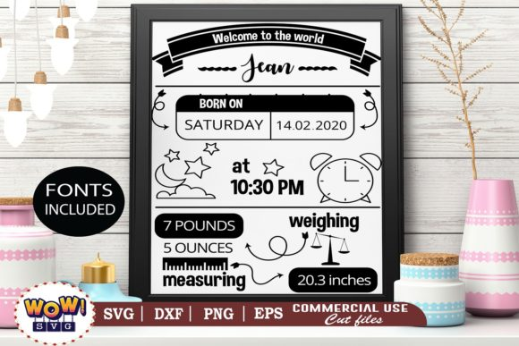 Print on Demand: Birth Announcement Template Svg, Baby Graphic Illustrations By Wowsvgstudio